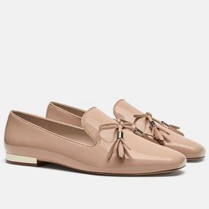 ZARA Pink & Silver Patent Leather Tassled Flats
